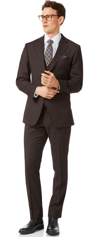 Costume Travel marron œil-de-perdrix slim fit