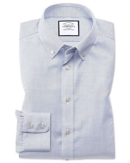 Slim fit button-down non-iron twill mini grid check navy shirt