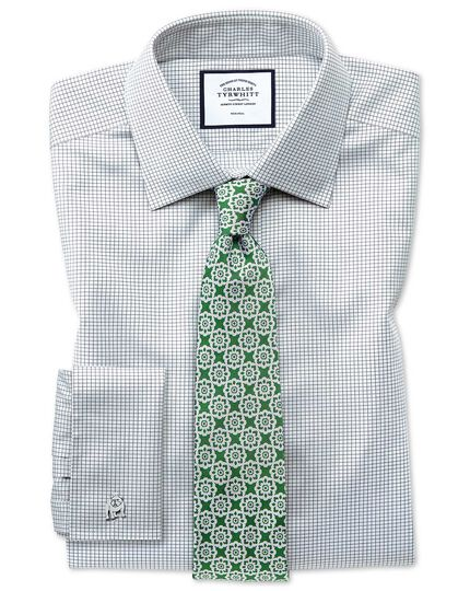 Extra slim fit non-iron twill mini grid check grey shirt