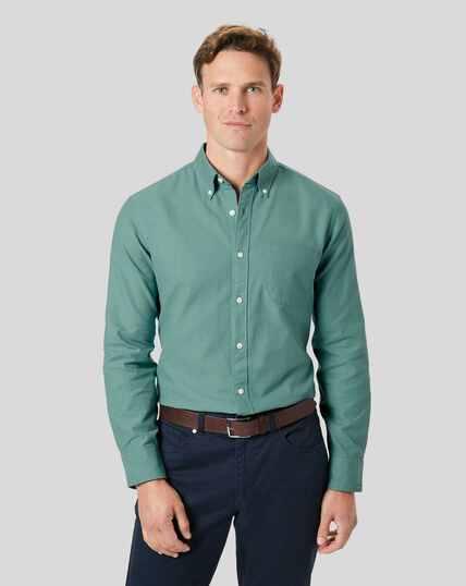 Vorgewaschenes Oxfordhemd mit Button-down-Kragen-Aquablau