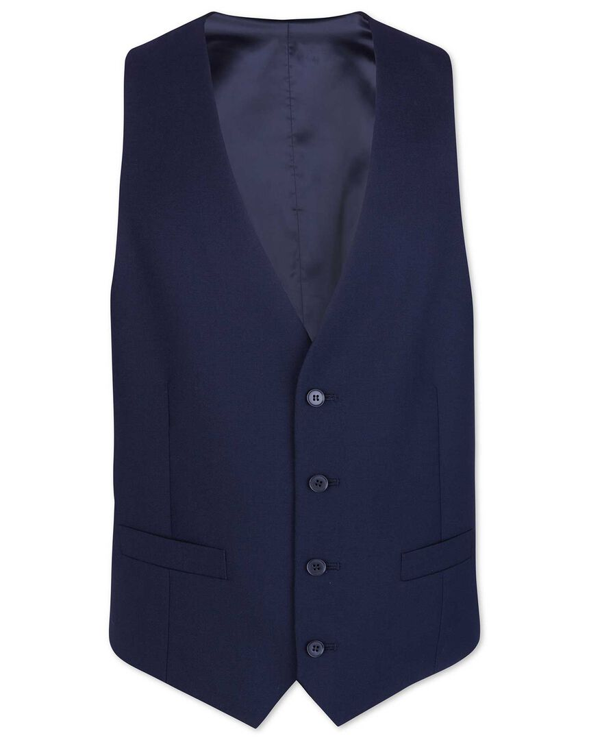 Royal blue adjustable fit merino business suit waistcoat