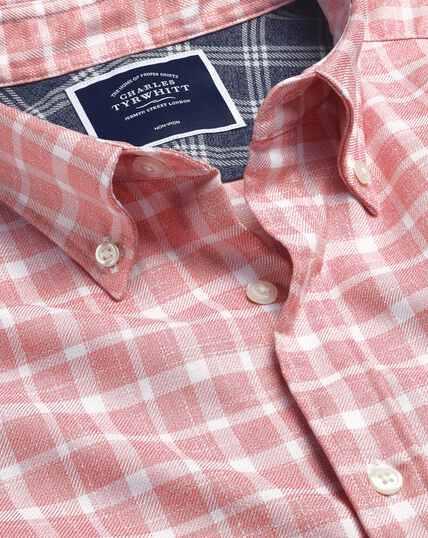 Bügelfreies Twill-Hemd mit Button-down-Kragen und Karos - Rosa & Weiß