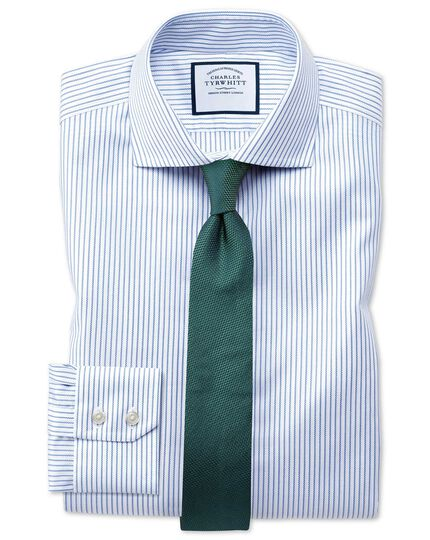 Slim fit spread collar non-iron cotton stretch Oxford stripe blue and white shirt