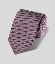 Klassische Krawatte aus Seide mit Ketten-Print - Burgunderrot