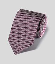 Silk Chain Print Classic Tie - Burgundy