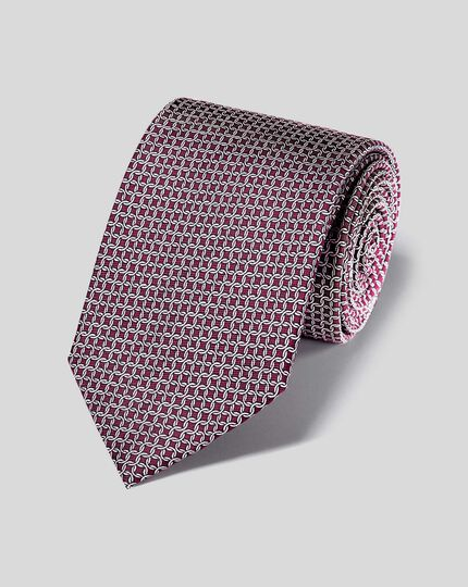 Silk Chain Print Tie - Burgundy
