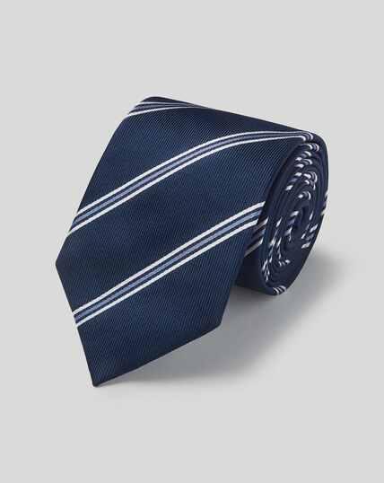 Cravate classique en soie à rayures - Bleu marine