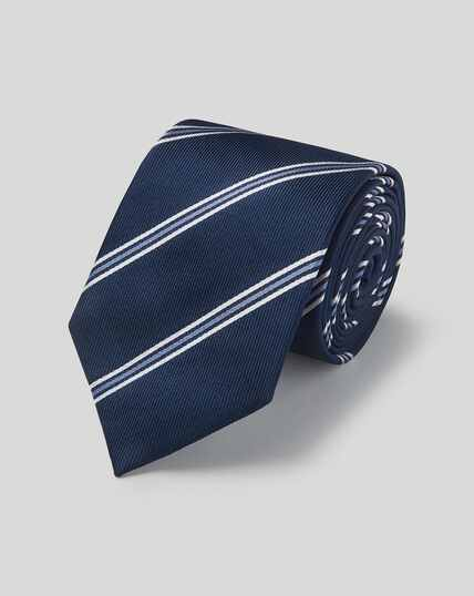 Silk Stripe Classic Tie - Navy