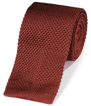 Orange silk knitted slim tie