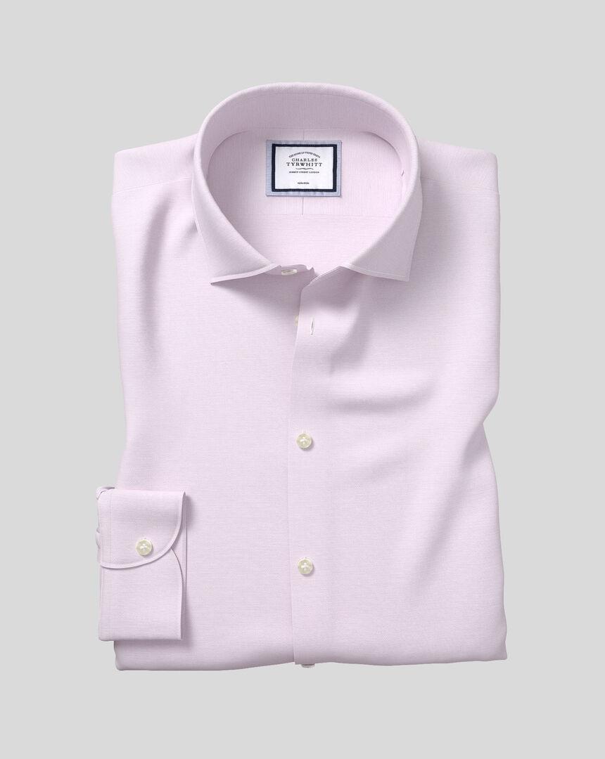 Business Casual Collar Non-Iron Cotton Linen Oxford Shirt - Lilac