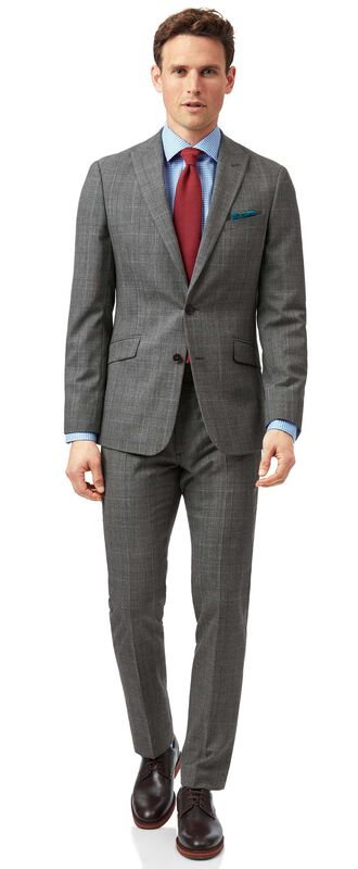 Grey with tan Prince of Wales check extra slim fit suit