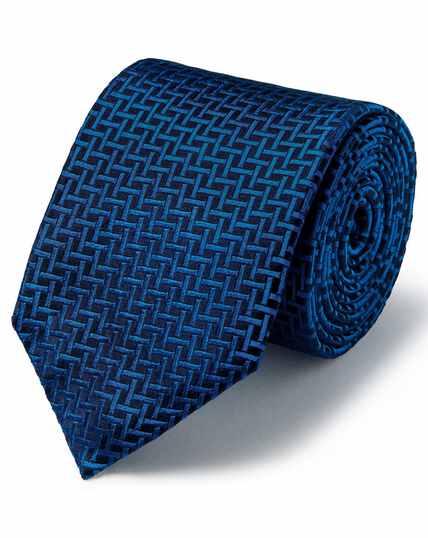 Marineblauw/koningsblauwe vlekbestendige klassieke zijden stropdas met rasterdessin