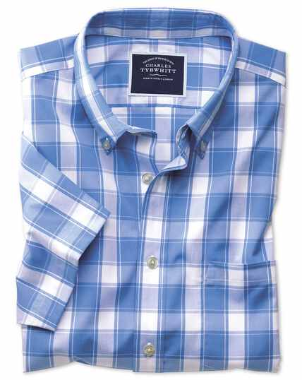 Classic fit button-down non-iron poplin short sleeve blue and white check shirt