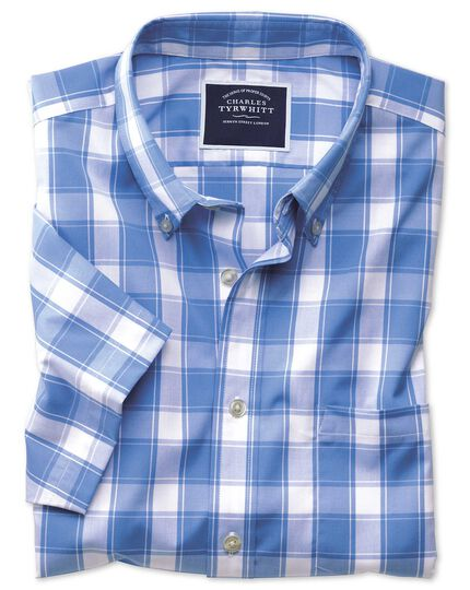 Classic fit non-iron blue check short sleeve shirt