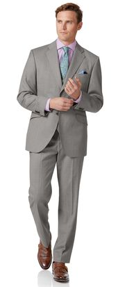 Silver classic fit italian suit