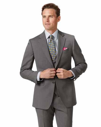 Light grey slim fit herringbone business suit jacket
