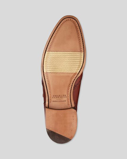Made in England Flexible Sole Fringed Slip-On Shoes - Tan