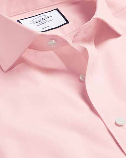 Spread Collar Non-Iron Poplin Shirt - Pink