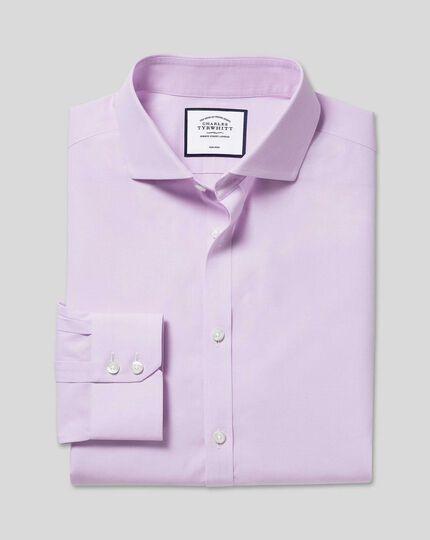 Cutaway Collar Non-Iron 4-Way Stretch Prince of Wales Check Shirt - Lilac