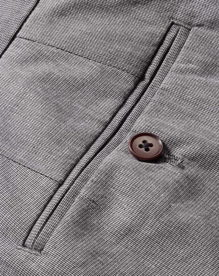 Grey slim fit puppytooth cotton trousers