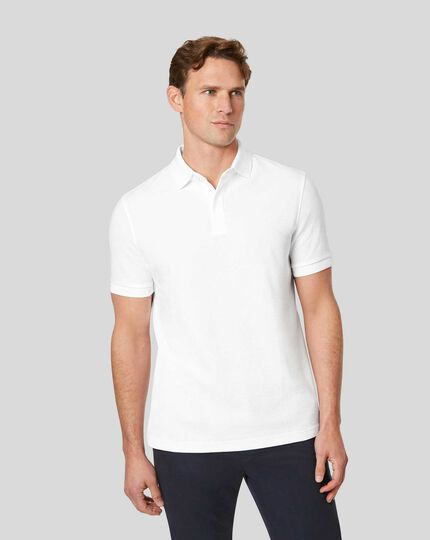 Tyrwhitt Cool Polo mit Waffelmuster - Weiß