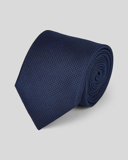 Stain Resistant Silk Textured Plain Classic Tie - Navy