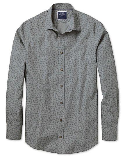 Classic fit grey floral print shirt