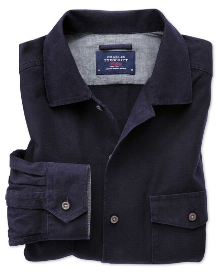 Single fit overshirt navy blue