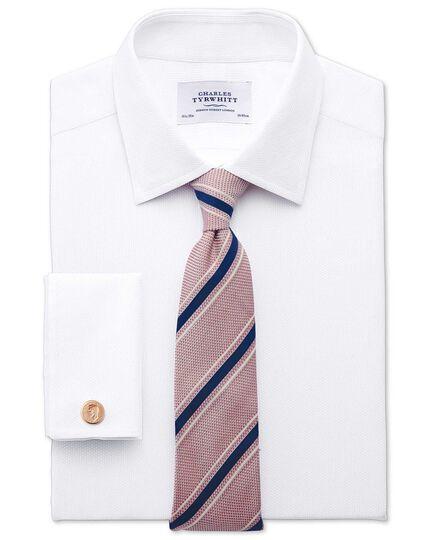 Classic Fit Hemd aus ägyptischer Baumwolle in Weiß mit Diamant-Struktur