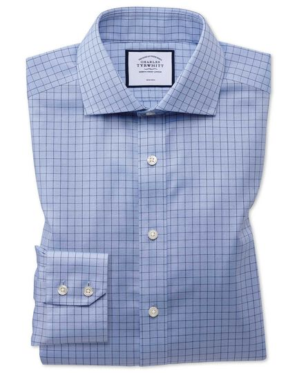 Extra slim fit non-iron cotton stretch Oxford blue shirt
