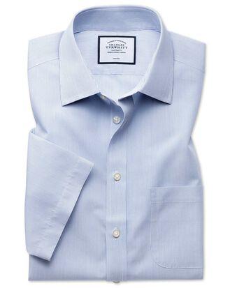 Classic fit non-iron Tyrwhitt Cool poplin short sleeve blue shirt