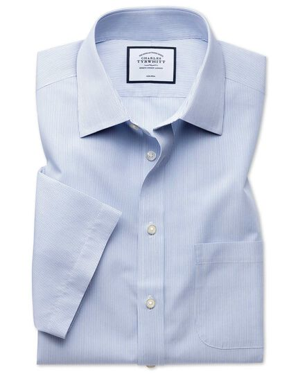 Classic fit non-iron Tyrwhitt Cool poplin short sleeve blue stripe shirt
