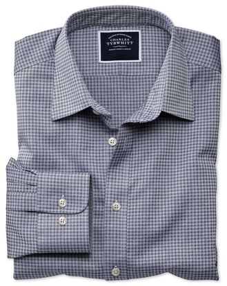Slim fit blue and grey check soft textured shirt