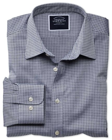 Extra slim fit blue and grey check soft textured shirt