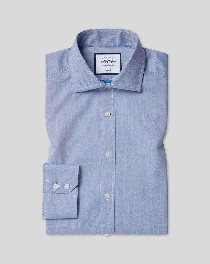 Stretch-Hemd mit TENCEL™ und Haifischkragen - Königsblau