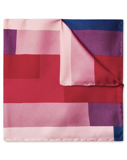 Pink multi stepped gradient print pocket square