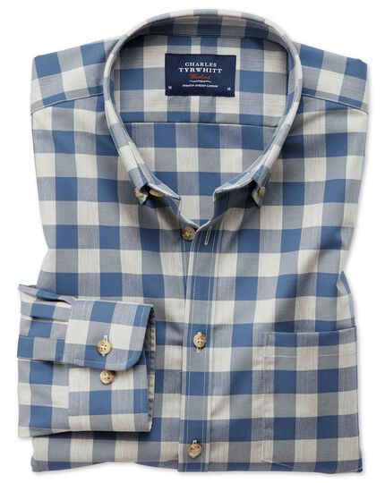 Classic fit button-down non-iron twill blue and grey check shirt