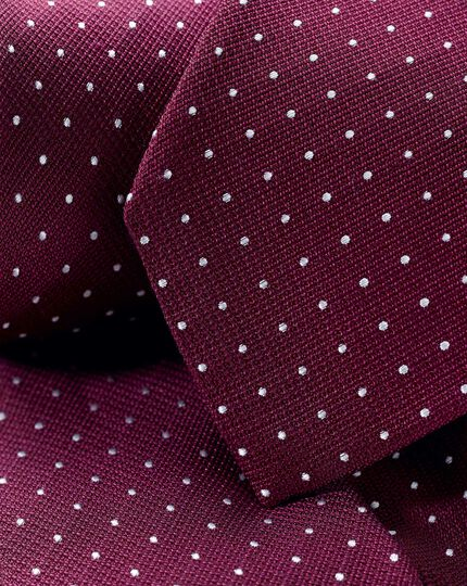 Stain Resistant Silk Textured Spot Classic Tie - Burgundy & White