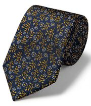 Navy and gold ditsy floral classic tie