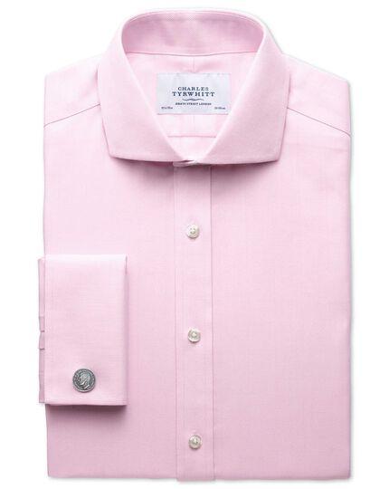 Bügelfreies Slim Fit Hemd mit Haifischkragen in Rosa mit Fischgrätmuster