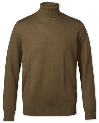 Olive roll neck merino jumper