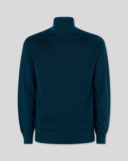 Teal merino roll neck sweater
