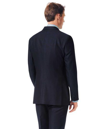 Navy slim fit textured Italian suit jacket