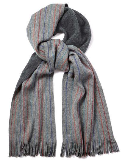 Écharpe grise en laine mérinos à rayures