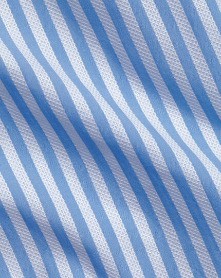 Super slim fit business casual leno texture stripe sky blue and white shirt