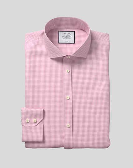 Spread Collar Non-Iron Cotton Stretch Check Shirt - Pink