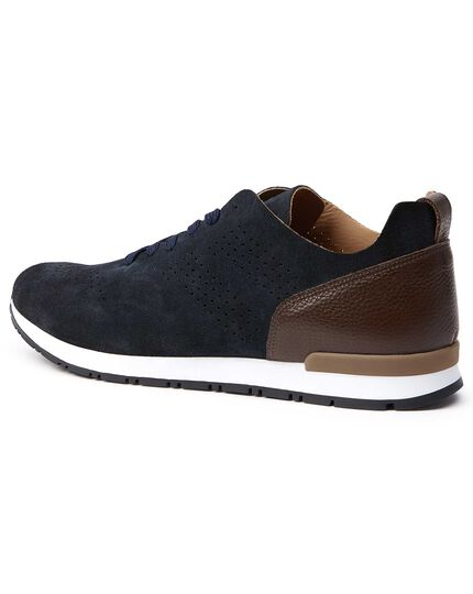 Navy and brown suede sneakers