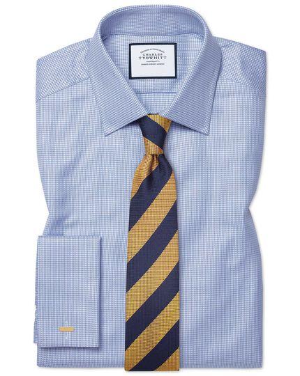 Gold and blue silk multi textured stripe classic tie
