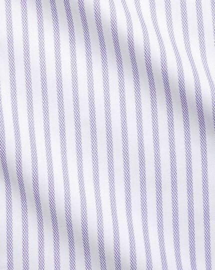 Textured Stripe Spread Collar Shirt - Lilac And White