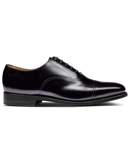 Black Goodyear welted Oxford toe cap shoes